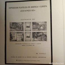 Sellos: HOJA PRUEBA EN NEGRO DE LA EMISIÓN ESPECIAL ,ESPAMER-80. Lote 221804900