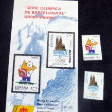 Timbres: ESPAÑA - 1992 - EDIFIL 3218/19 /**/ - JUEGOS OLÍMPICOS DE BARCELONA 92 + BOL INFORMACIÓN Nº 17/92. Lote 221919676
