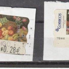 Sellos: 2001 ATM FRUTAS SUMMER GALERY 2 VALORES 0,28 Y 0,01. Lote 222071530
