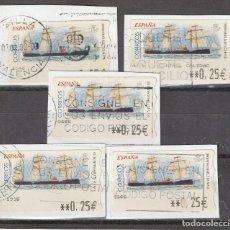 Sellos: 2001 ATM CRUCERO INFANTA ISABEL S.XIX.CONJUNTO DE 5 VALOR 0,25. Lote 222072010