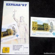 Timbres: ESPAÑA - 1997 - EDIFIL 3511 HB /**/ EXFILNA 97 - GIJÓN + BOL. INFORMACIÓN 25/97. Lote 222164840