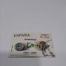 Sellos: 2007 EDIFIL 4341 CENTENARIO REAL BETIS BALOMPIÉ.. Lote 222222686