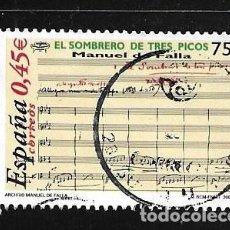 Sellos: 2001-ESPAÑA. MANUEL DE FALLA, MÚSICO. EL SOMBRERO DE TRES PICOS. Lote 222277862