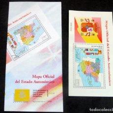 Selos: ESPAÑA - 1996 - EDIFIL 3459 HB /**/ MAPA OFICIAL DEL ESTADO AUTONÓMICO + BOL. DE INFORMACIÓN 23/96. Lote 222281855