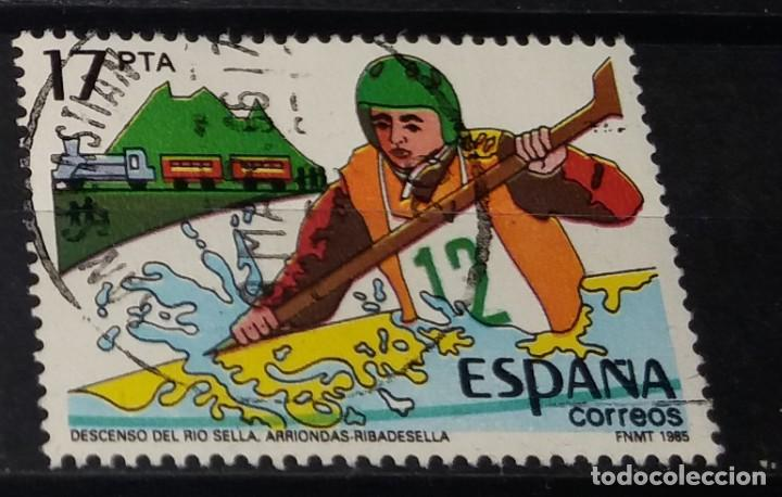 SELLO USADO. DESCENSO DEL RIO SELLA (RIBADESELLA). ALCOY. 2 DE AGOSTO DE 1985. EDIFIL 2785. (Sellos - España - Juan Carlos I - Desde 1.975 a 1.985 - Usados)