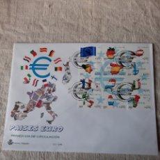 Sellos: EDIFIL 3632/3643 MINIPLIEGO 63 PAISES EURO MATASELLO USADOS PRIMER DÍA CIRCULACIÓN ESPAÑA. Lote 222729626