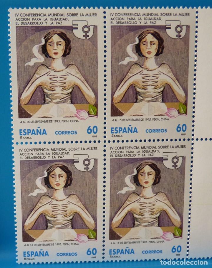 ESPAÑA 1995 EDIFIL 3386 CONFERENCIA MUNDIAL SOBRE LA MUJER MNH BLOQUE DE 4 (Sellos - España - Juan Carlos I - Desde 1.986 a 1.999 - Nuevos)