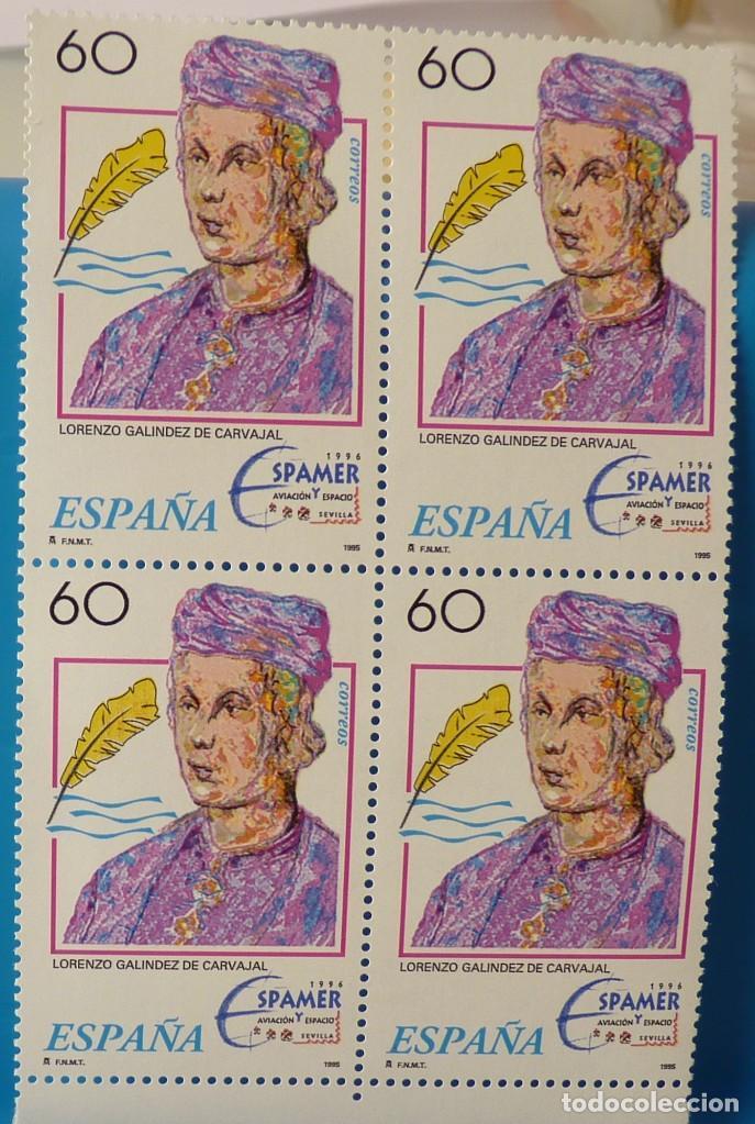 Sellos: ESPAÑA 1995 EDIFIL 3404/3405 ESPAMER 95 MNH BLOQUE DE 4 - Foto 3 - 222754973