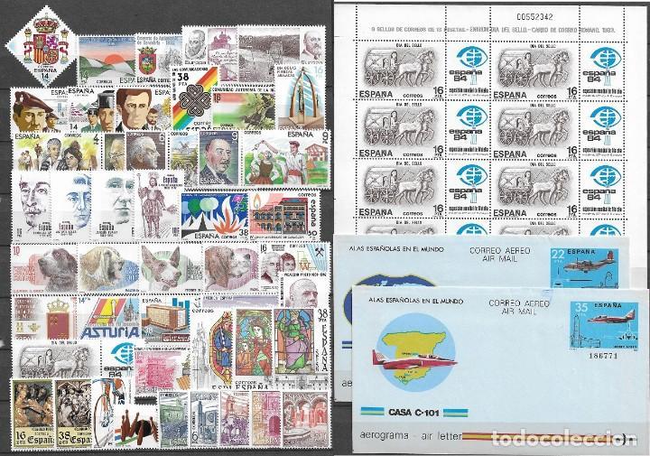 ESPAÑA, 1983, AÑO COMPLETO INCLUIDA MINIHOJA Y AEROGRAMAS, EDIFIL 2685-2731 (Sellos - España - Juan Carlos I - Desde 1.975 a 1.985 - Nuevos)