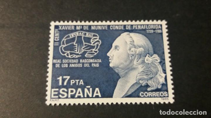 SELLO NUEVO. II CENTENARIO MUERTE CONDE DE PEÑAFLORIDA. 11 DE DICIEMBRE 1985. EDIFIL 2824. (Sellos - España - Juan Carlos I - Desde 1.975 a 1.985 - Nuevos)