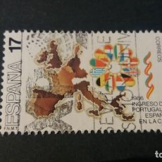 Sellos: SELLO USADO. INGRESO PORTUGAL Y ESPAÑA EN COMUNIDAD EUROPEA. MAPA EUROPA. EDIFIL 2826.. Lote 222881791