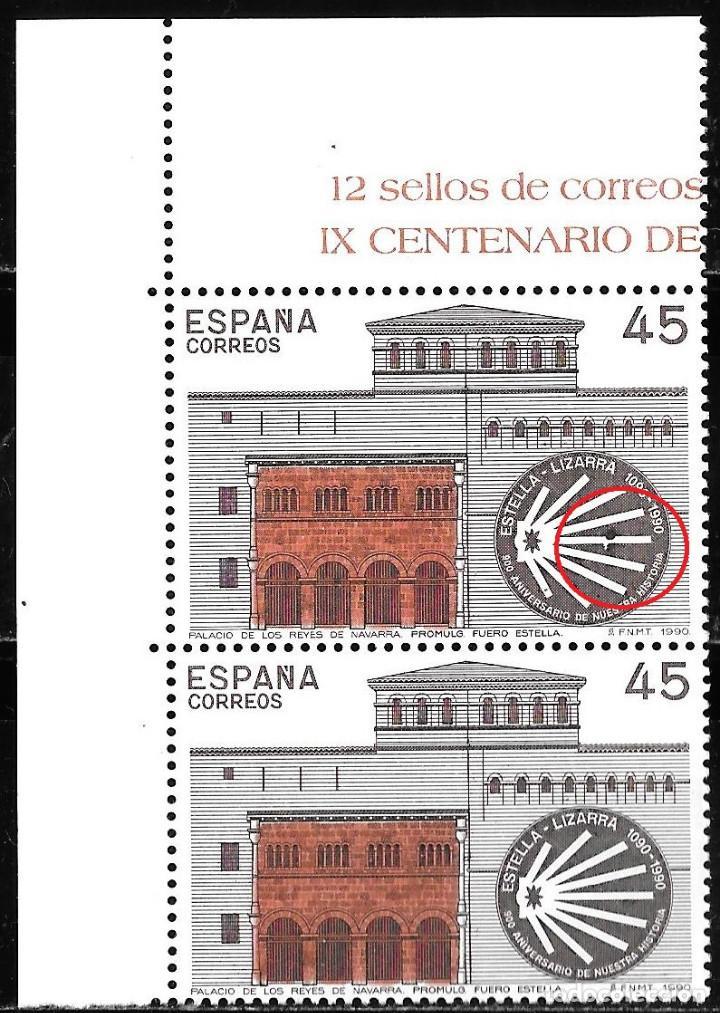 ESPAÑA ERROR PUNTO NEGRO EN SELLO SUPERIOR. PAREJA. IX CENTENARIO FUERO DE ESTELLA EDIFIL 3071** (Sellos - España - Juan Carlos I - Desde 1.975 a 1.985 - Nuevos)
