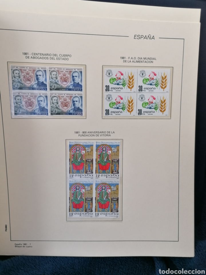 ESPAÑA AÑO COMPLETO 1981 EN BLOQUE DE 4 NUEVO *** EDIFIL 2599/2643 (Sellos - España - Juan Carlos I - Desde 1.975 a 1.985 - Nuevos)