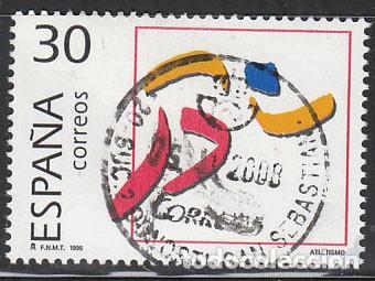 EDIFIL Nº 3364, OLIMPIADA DE BARCELONA 92, OLIMPICOS DE PLATA, ATLETISMO, USADO (Sellos - España - Juan Carlos I - Desde 1.986 a 1.999 - Nuevos)