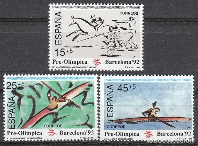 EDIFIL Nº 3104/6, 6ª SERIE PREOLIMPICA, OLIMPIADA DE BARCELONA'92, NUEVO *** SERIE COMPLETA (Sellos - España - Juan Carlos I - Desde 1.986 a 1.999 - Nuevos)