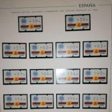 Sellos: ESPAÑA 1992 MADRID 92 ETIQUETAS KLUSSENDORF ATM - 17 VALORES TARIFAS POSTALES 1995 SIN NUMERO. Lote 225947670