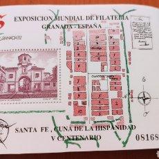 Sellos: 100 HOJAS BLOQUE, GRANADA EXPOSICIÓN MUNDIAL DE FILATELIA, 1992, ÚNICO, VER. Lote 226054615