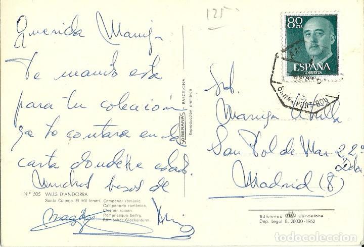 TARJETA POSTAL CIRCULADA ,MATASELLADA AMBULANTE FERROVIARIO BARNA. PORT BOU (Sellos - España - Juan Carlos I - Desde 2.000 - Cartas)
