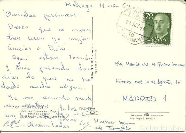 TARJETA POSTAL CIRCULADA MATASELLADA CON EL AMBULANTE FERROVIARIO MADRID MALAGA EN 1964 (Sellos - España - Juan Carlos I - Desde 2.000 - Cartas)