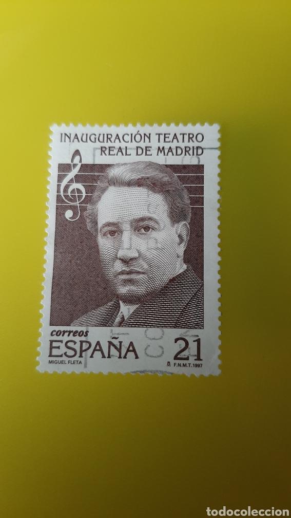 MÚSICA TEATRO REAL MADRID MIGUEL FLETA EDIFIL 3514 UDADO 1997 FILATELIA COLISEVM NUMISMÁTICA (Sellos - España - Juan Carlos I - Desde 1.986 a 1.999 - Usados)