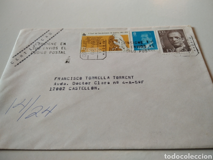 SOBRE CON SELLOS CERTIFICADO (Sellos - España - Juan Carlos I - Desde 1.986 a 1.999 - Cartas)
