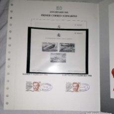 Francobolli: ESPAÑA 1988 - 50 ANIVERSARIO DEL CORREO SUBMARINO DOCUMENTO FILATÉLICO ANFIL Y HOJA HOMENAJE NEGRA. Lote 228932530