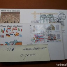 Sellos: SELLOS ESPAÑA SOBRES PRIMER DIA CIRCULACION 1986 AÑO COMPLETO. Lote 229401810