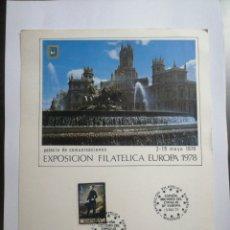 Sellos: EXPOSICIÓN FILATELIA EUROPA 1978, PALACIO DE COMUNICACIONES DE MADRID. Lote 229416235