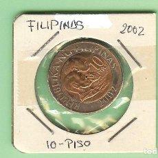 Timbres: FILIPINAS. 10 PISO 2002. BIMETÁLICA. KM#278. Lote 230812660