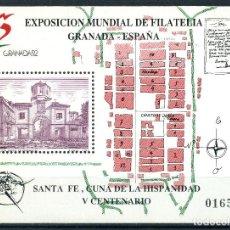 Sellos: EXPOSICION MUNDIAL DE FILATELICA GRANADA 1991 - HOJITA BLOQUE EDIFIL 3109. Lote 232206865