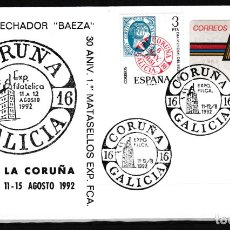 Sellos: CORUÑA.- SOBRE CON MATASELLOS CONMEMORATIVO EXPOSICIÓN FILATELICA 1992. Lote 232610510