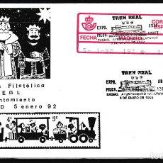 Sellos: ZARAGOZA.- SOBRE CON MATASELLOS TREN REAL DE CALATAYUD 1992. Lote 232610998