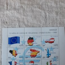 Sellos: EDIFIL 3632/3643 NUEVA MINIPLIEGO 63 ESPAÑA 1999 PAÍSES EURO BANDERA MAPAS. Lote 234440415