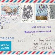 Sellos: ESPAÑA,- CARTA CERTIFICADA DE SEVILLA A ISLAS MAURICIO DEVUELTA AL REMITENTE POR NO ENTREGADO. Lote 234893190