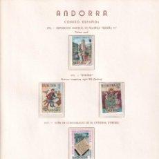 Timbres: SELLOS ANDORRA 1975 / 1980 MONTADOS EN HOJAS OLEGARIO IMPECABLES. Lote 235052760