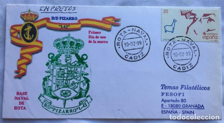 SOBRE BASE NAVAL DE ROTA TEMAS FILATÉLICOS (Sellos - España - Juan Carlos I - Desde 1.986 a 1.999 - Cartas)