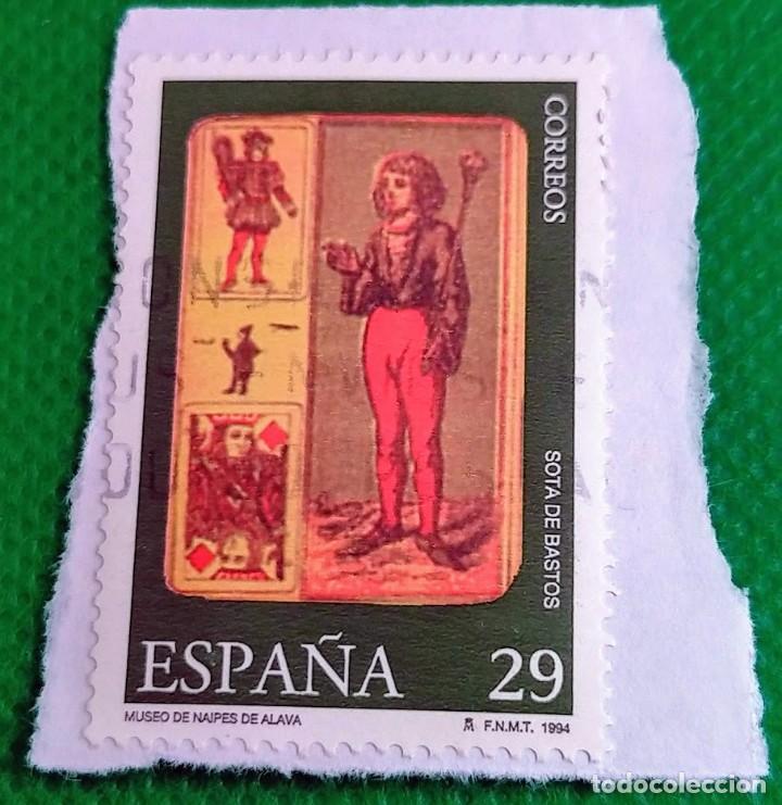 SELLO DE ESPAÑA 1994 MUSEO DE NAIPES SOTA DE BASTOS 3318 (Sellos - España - Juan Carlos I - Desde 1.986 a 1.999 - Usados)