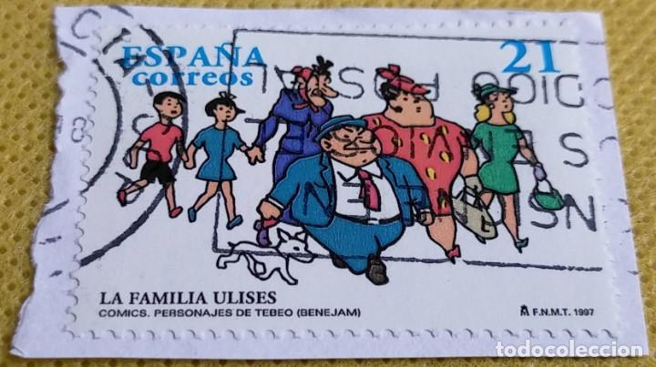 2 SELLOS ESPAÑA 1997 CÓMIC LA FAMILIA ULISES Y EL GUERRERO DEL ANTIFAZ 3486/3487 (Sellos - España - Juan Carlos I - Desde 1.986 a 1.999 - Usados)
