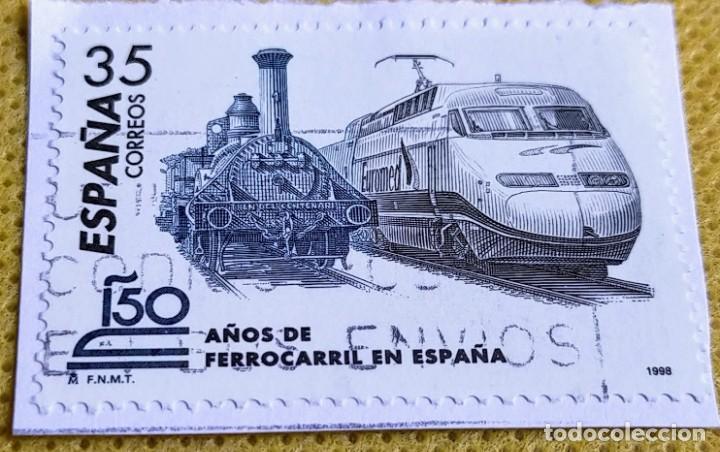 SELLO ESPAÑA 1998 – 150 AÑOS DEL FERROCARRIL EN ESPAÑA 3591 (Sellos - España - Juan Carlos I - Desde 1.986 a 1.999 - Usados)