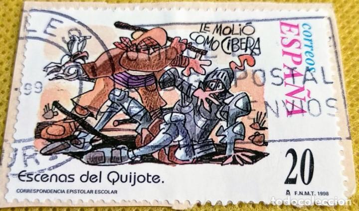 3 SELLOS DE UN MINIPLIEGO DE ESCENAS DEL QUIJOTE Nº 3564/3568/3570 (Sellos - España - Juan Carlos I - Desde 1.986 a 1.999 - Usados)
