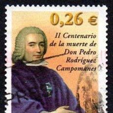 Timbres: EDIFIL 3960 ESPAÑA 2003 II CENTENARIO DE LA MUERTE DE DON PEDRO RODRÍGUEZ CAMPOMANES, 1.723 USADO. Lote 238200265