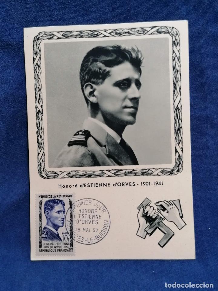 Sellos: Francia Segunda Guerra mundial Heroes De La Resistencia año 1957 matasellos conmemorativo - Foto 3 - 241054685