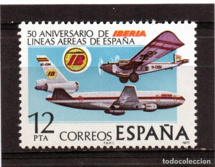 ESPAÑA / SPAIN / AÑO 1977 EDIFIL NR. 2448 NUEVO ANIVERSARIO DE LA COMPANIA AEREA IBERIA (Sellos - España - Juan Carlos I - Desde 1.975 a 1.985 - Nuevos)