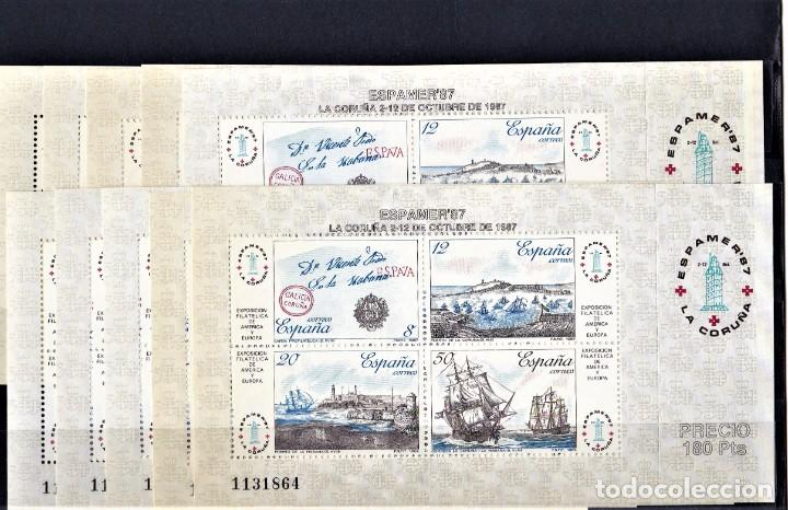 ESPAÑA 1987 LOTE DE 10 HOJITAS EXPOSICION FILATELICA DE ESPAÑA Y AMERICA. (Sellos - España - Juan Carlos I - Desde 1.986 a 1.999 - Nuevos)