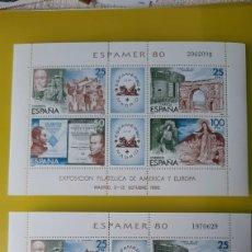 Sellos: ESPAMER 1980 ESPAÑA HOJAS BLOQUE NUEVO Y USADA EDIFIL 2583 FILATELIA COLISEVM. Lote 242953345
