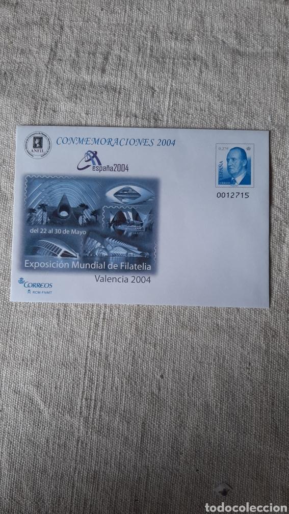 EDIFIL 92 ANFIL CONMEMORATIVAS VALENCIA EXPOSICIÓN FILATÉLICA 2004 SOBRE ENTERO POSTAL JUAN CARLOS I (Sellos - España - Juan Carlos I - Desde 2.000 - Nuevos)