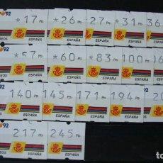 Sellos: ESPAÑA ATMS GRANADA 92 EXPO 92 BARCELONA 92 MADRID 92 CON NUMERACION AL DORSO. Lote 243435705