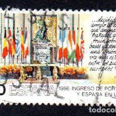 Sellos: EDIFIL 2827 ESPAÑA 1986 INGRESO DE ESPAÑA Y PORTUGAL EN LA CE. USADO. Lote 243518065