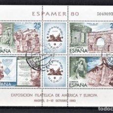 Sellos: ESPAÑA 1980 HOJITA EXPOSICIÓN FILATÉLICA DE AMÉRICA Y EUROPA 4 VALORES COMPLETA.. Lote 244578485