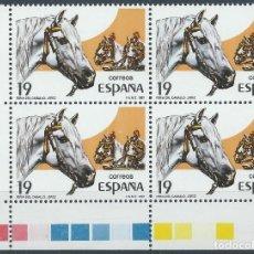 Sellos: 1987. ESPAÑA EDIFIL 2898**MNH. BLOQUE DE CUATRO. FERIA DEL CABALLO. JEREZ. HORSE FAIR. BORDE DE HOJA. Lote 244609330